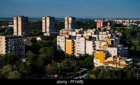 Communist era blocks of apartments in northern Plovdiv, Bulgaria's second largest city - Stock Image