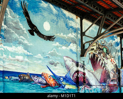 Street art in Rio de Janeiro, Brazil's Porto Maravilha District. Converted warehouses into art exhibits - food - Stock Image