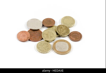 A pile of british coins. - Stock Image