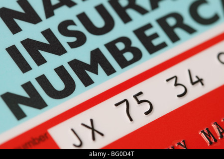 National Insurance Number card NI Number for GB UK - Stock Image