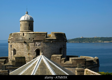 st.mawes castle overlooking the entrance to falmouth harbour,cornwall,england - Stock Image