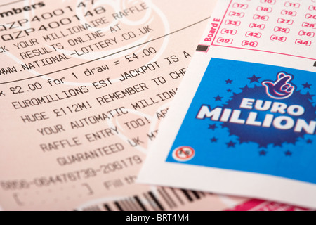 uk british national lottery euromillions ticket with picks - Stock Image