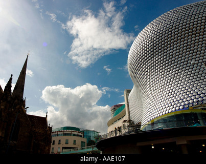 Exterior of the new Selfridges building with the church of St Martins in the Bull Ring alongside Birmingham UK - Stock Image