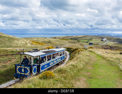 Upper section of The Great Orme Tramway looking down towards the town, The Great Orme, Llandudno, Conwy, North Wales, UK - Stock Image