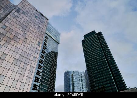 headquarters, skyscrapers and office buildings in La Defense business district, Paris, France - Stock Image