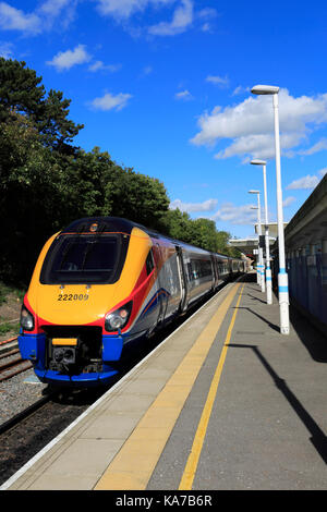 East Midlands Meridian unit, 222 009 at Corby Railway Station, Northamptonshire County, England; Britain; UK - Stock Image