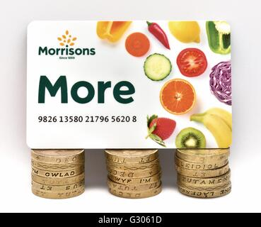 Morrisons more loyalty card and stacks of one pound coins - Stock Image