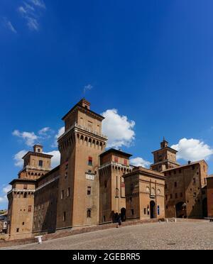 Ferrara, Italy (6th August 2021) - The Estense Castle (XIV century) right in the middle of italian Ferrara's center - Stock Image