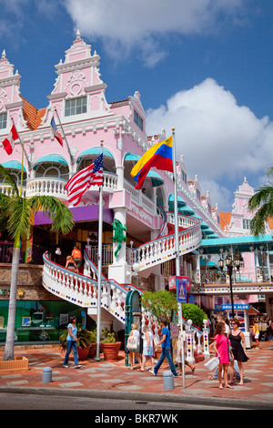 The streets with dutch architecture in Oranjestad, Aruba, Netherland Antilles, Caribbean. - Stock Image