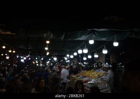 Djema el fna food stalls - Stock Image