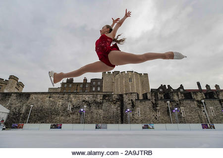London, UK. 16th Nov 2019. International gold and silver medalist Team GB junior figure skater, Kayla Fry, 16yrs, performs at Tower of London ice rink to mark the official opening of the rink which runs for 8 weeks until 5th Jan 2020. Credit: Guy Corbishley/Alamy Live News - Stock Image