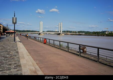 The Chaban-Delmas Bridge over the river Garonne in Bordeaux, France - Stock Image