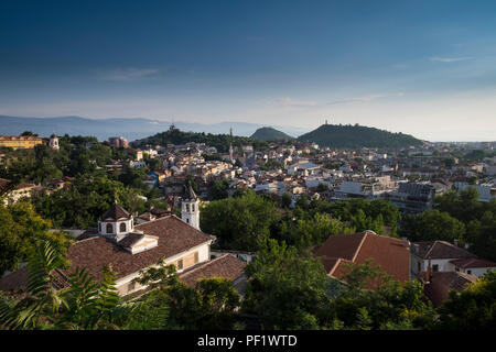 A view over the old town of Plovdiv, Bulgaria's second largest city. The city will be European Capital of Culture in 2019. - Stock Image