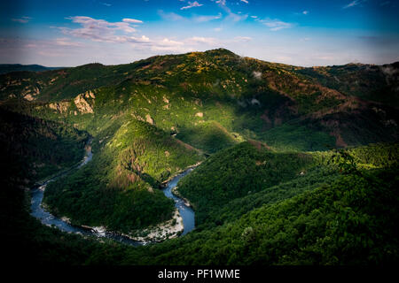 A meander in the Arda River near the town of Ardino in the eastern Rhodope Mountains. - Stock Image