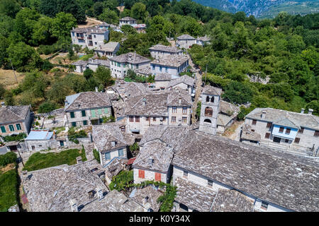 aerial view of old stone houses in the village Dilofo of Zagorochoria, Epirus, Western Greece - Stock Image