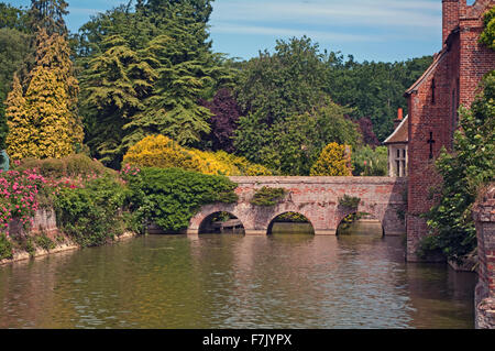 Kentwell Hall Bridge Over Moat Suffolk - Stock Image