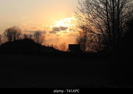 Sunset at Sulwalszczyzna, Podlasie, Poland - Stock Image