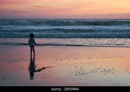 Young girl stands on a beach and looks out to sea at Santa Cruz, California, at dusk, with reflection in the wet sand. - Stock Image