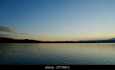 After sunset of lake Varese in Italy. - Stock Image