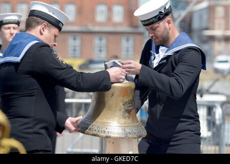 The unveiling of the restored HMS Hood ships bell at Portsmouth Historic Dockyard by HRH The Princess Royal on the - Stock Image