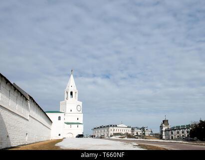 Kazan, Tatarstan, Russia. Spasskaya tower of the Kazan Kremlin- the main tower of his travel and architectural monument of the XVI century. - Stock Image