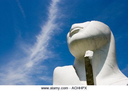 sculpture of a marble head at the  Yorkshire Sculpture Park - Stock Image