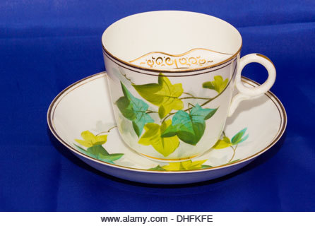 Commemorative Ivy Leaf Pattern Porcelain China Victorian Moustache Cup and Saucer - Stock Image