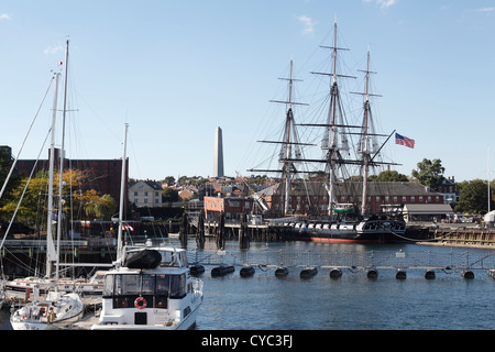 The USS Constitution Known Also As Old Ironsides At The Charlestown Naval Yard, Boston Massachusetts, the Oldest - Stock Image