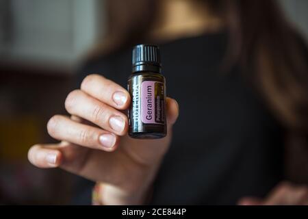 doTerra essential oil bottles. Geranium essential oil. Essential doterra oil. 27 August 2020. - Stock Image