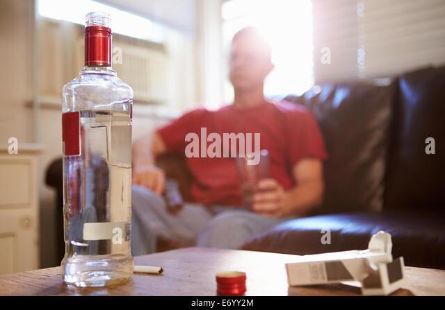 Man Drinking Alcohol Home Drunk Stock Photos & Man Drinking