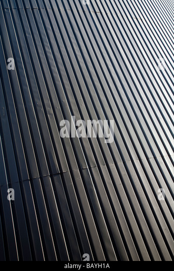 Wall made of corrugated iron sheet - Stock Image