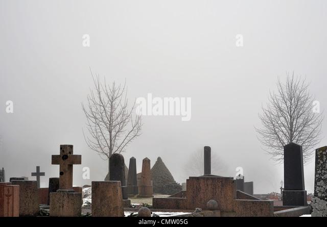 Church and graveyard - Stock Image