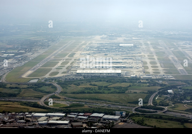 Aerial view of London Heathrow Airport - Stock Image