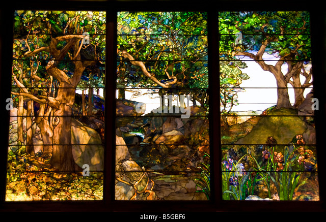 Houston Museum of Fine Arts collection, A Wooded Landscape in Three Panels by Louis Comfort Tiffany, c 1905 - Stock Image