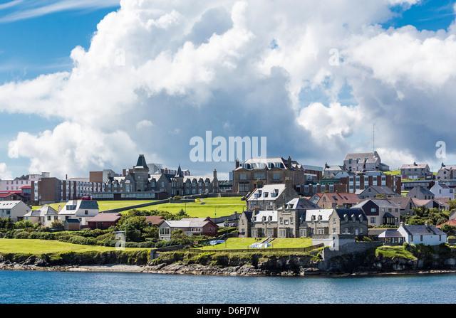 Views of the port city of Lerwick, Shetland Islands, Scotland, United Kingdom, Europe - Stock Image