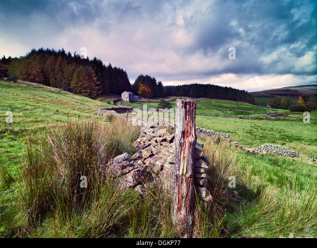 An autumn view of Cotterdale. - Stock Image