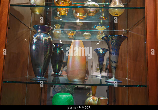 American Art Glass display Louis Comfort Tiffany - Stock Image