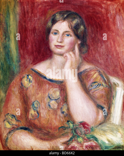 "fine arts, Renoir, Auguste (1841 - 1919), painting, ""Portrait of Madame Osthaus"", 1913, Museum Folkwang, - Stock Image"
