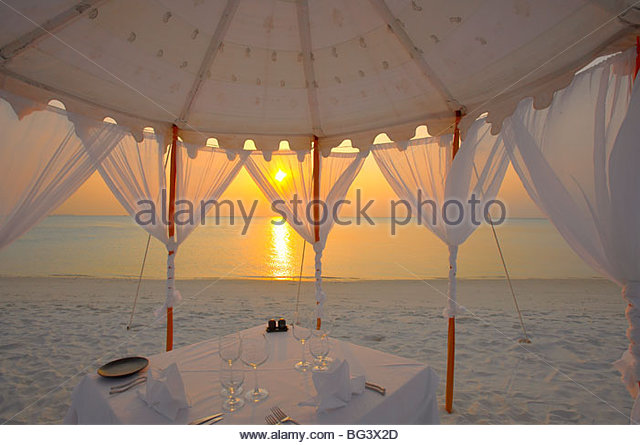 Dinner at the beach, Maldives, Indian Ocean, Asia - Stock Image