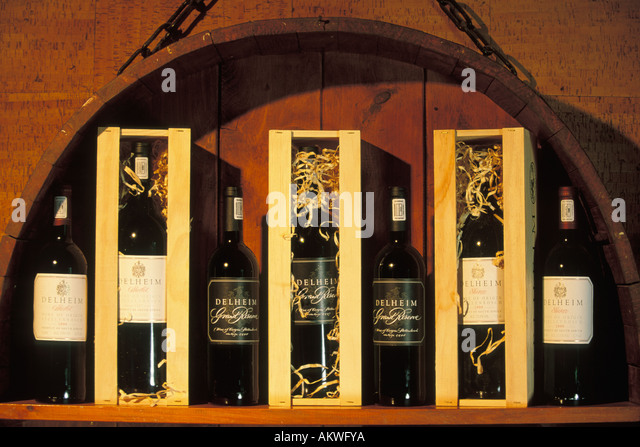 South Africa, Stellenbosch, Wine bottles in cellar, Delheim Winery Stock Photo