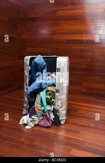 Open suitcase - Stock Image