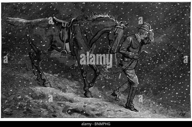 Wood Engraving: Going Home to Love in a Cottage, from Fun Magazine; a man leads a horse through the snow. - Stock Image