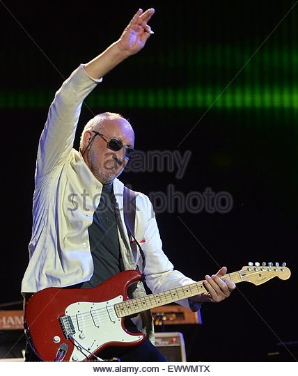 epa04823140 Pete Townshend of the British rock band 'The Who' performs on The Pyramid Stage on the fifth - Stock Image