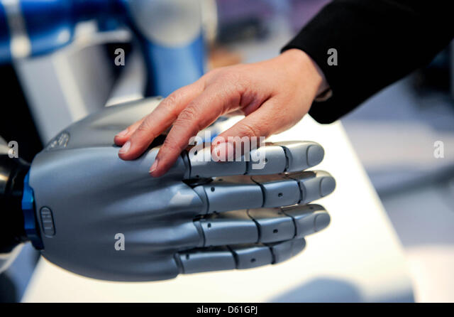 A robot's hand at 'Hanover Messe' at the Hanover Congress Centre in Hanover, Germany, 22 April 2012. - Stock Image