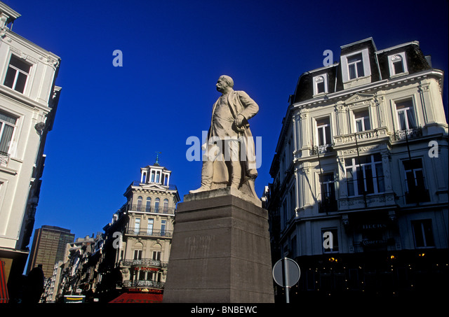 Statue of Brialmont at Rue Royale and Rue de Louvain city of Brussels Brussels Capital Region Belgium Europe - Stock Image