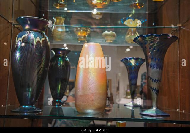 American Art Glass display Louis Comfort Tiffany. - Stock Image