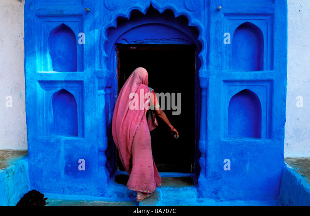 India, Rajasthan State, Jodhpur, the old blue town - Stock Image