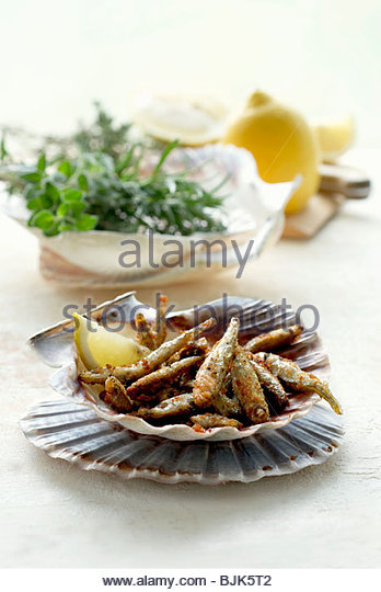 Crispy fried anchovies - Stock Image