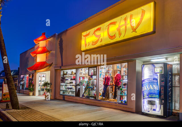 T.S. Chu Department Store at Twilight, Tybee Island, Georgia - Stock Image