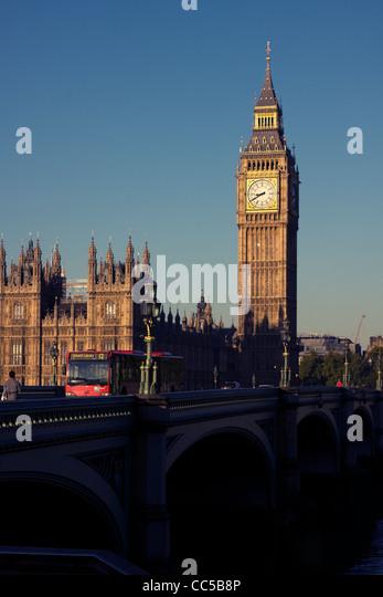 Westminster Bridge, London Bus and Big Ben, London England - Stock Image